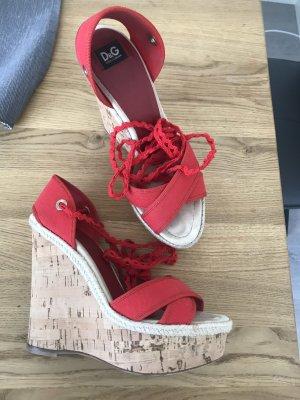 Rote Dolce&Gabbana Keilabsatz Sandalen