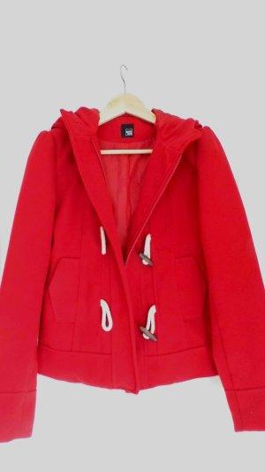 Rote Duffle Jacke mit Kapuze