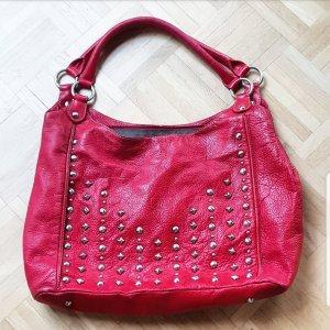 Rote Echt Leder Tasche - mit Nieten