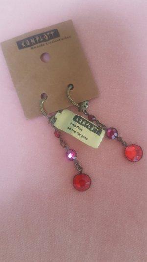 Rote filigrane Wasserfall Ohrringe