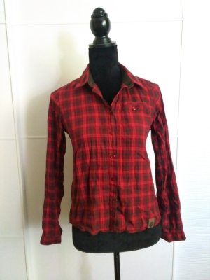 Checked Blouse carmine-brown