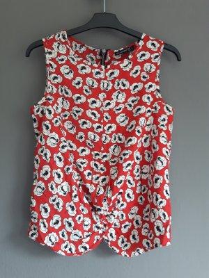 rote gemustere Bluse / Top mit Raffungen vorne