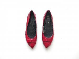 rote getragene Lackschuhe Gr. 39 Ballerinas spitz mit schleife