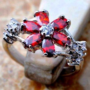 Rote Granat Silber rhodinierter Ring, Gr.18