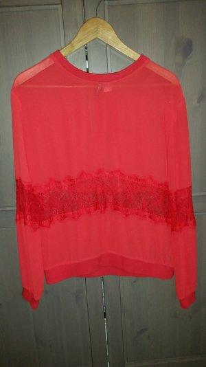 rote H&M Bluse mit Spitzeneinsätzen