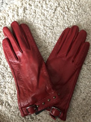 Sure Gants en cuir rouge foncé