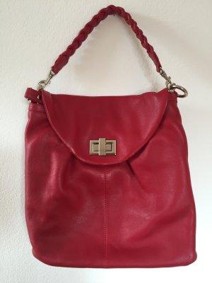 Rote Handtasche aus echtem Leder