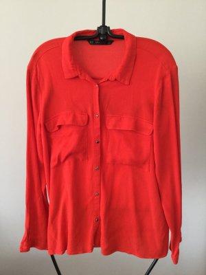 Rote Hemdbluse XL Zara Basic 100%Viskose mit goldenen Knöpfen