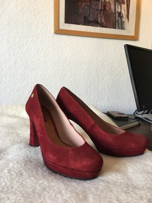 Rote High Heels, Plateau Absatz