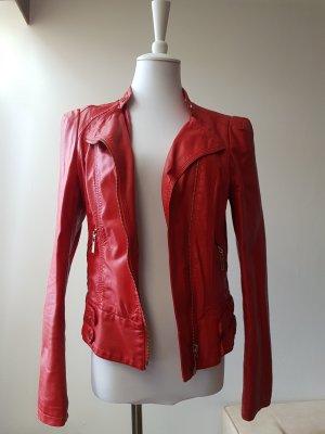 Biker Jacket red polyurethane