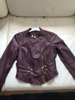 Flame Faux Leather Jacket purple imitation leather