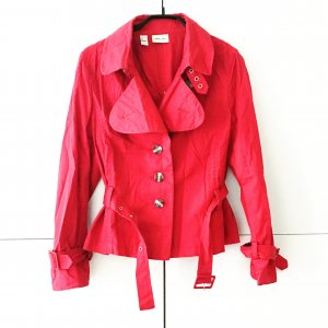 rote jacke im trench style / vintage / mango / himbeere