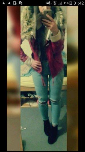 Rote Jacke mit xxl Kapuze sheinside