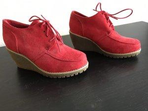 Platform Booties brick red