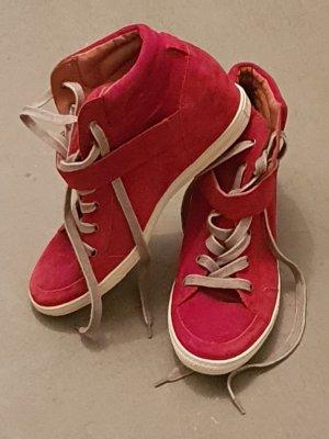 Paul Green Heel Sneakers brick red leather