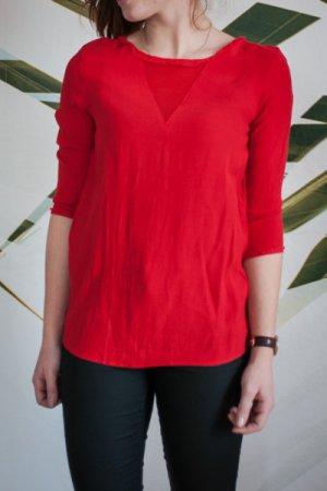 Rote Krepp Bluse Mango Größe XS