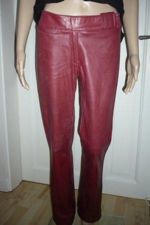Pantalón de cuero rojo-rojo oscuro Imitación de cuero