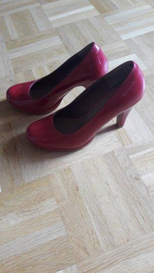 Tamaris Décolleté con plateau rosso-rosso mattone Pelle