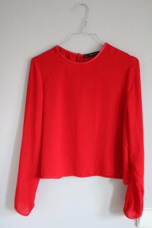 Rote Langärmelige Bluse von Zara
