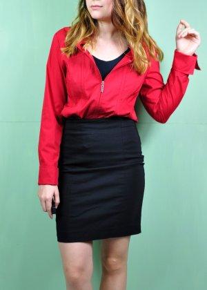 Rote Langarm Bluse mit Zweifachen Reißverschluss