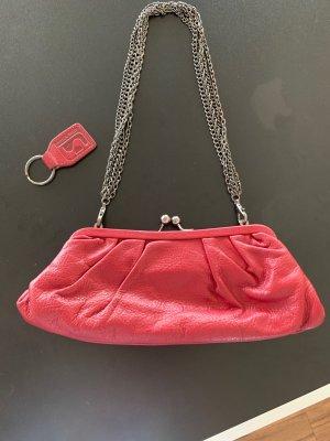 Clutch carmine leather