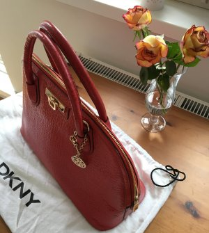 Rote Leder-Handtasche DKNY