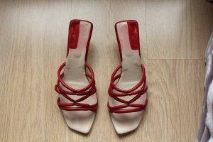 Rote Leder-Sandaletten