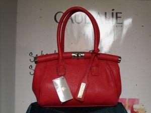 rote Lederhandtasche