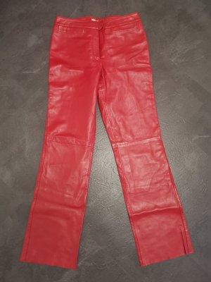 Ricano Pantalone in pelle rosso scuro-rosso mattone