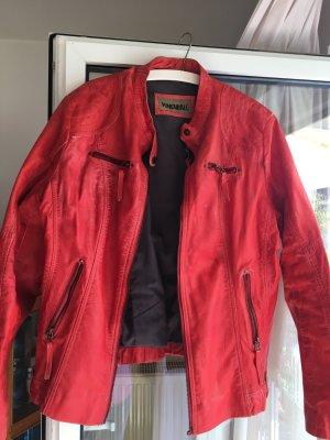 Veste motard rouge cuir
