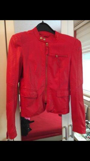 Rote Lederjacke mit schnürrungen gr 40