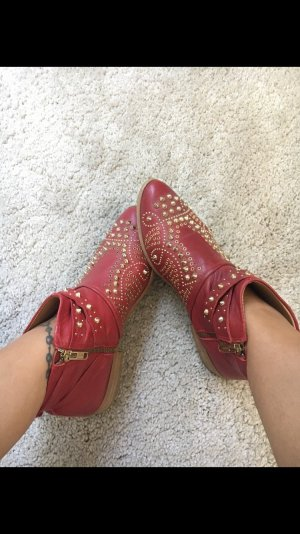 Zara Booties red-gold-colored leather