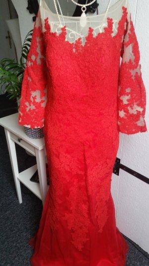 Rote Meerjungfrauenkleid mit Spitze