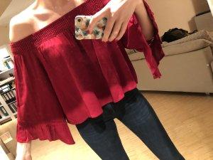 Chemisier kimono rouge foncé