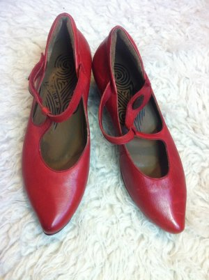 rote Riemchen Pumps Sling Leder Schuhe mit schwarzem Absatz von Think!