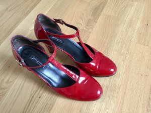 Paul Green Strapped pumps brick red leather