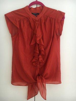 Rote Rüschenbluse mit Seidenanteil von Gant