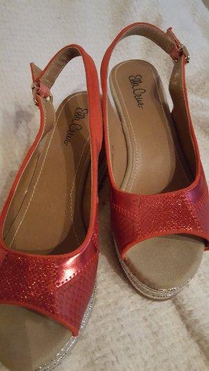 Plateauzool sandalen rood