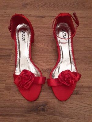 Rote Satin Sandaletten, 39