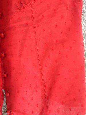 3 Suisses Tie-neck Blouse red cotton
