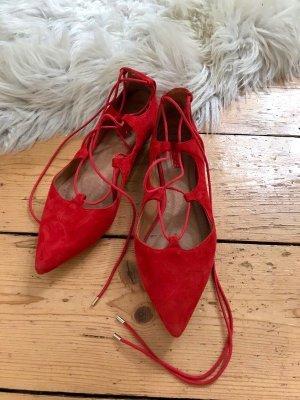 Rote Schnür-Ballerinas Topshop