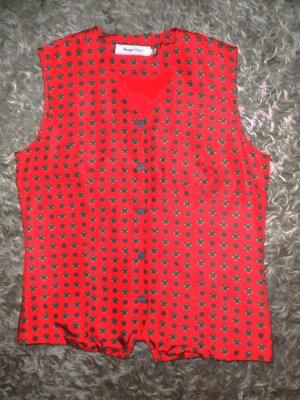 Rote Seidenbluse, Marco Pecci, Krawattendruck, Größe 36