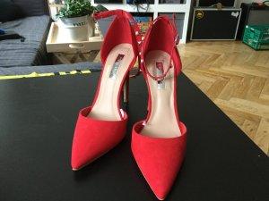 Rote sexy Pumps Sandalen mit Nieten und Perlen Riemen