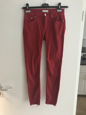 Zara Woman Low-Rise Trousers dark red