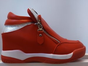 Rote Sneaker mit 7cm Plateau, 23,5 cm