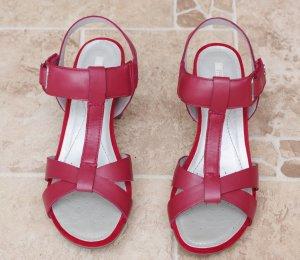 Geox Sandalo con tacco alto e lacci a T rosso scuro Pelle