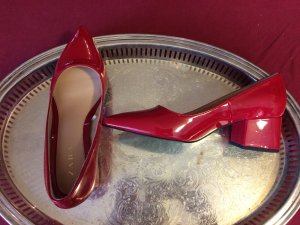 Zara Ballerine en pointe rouge faux cuir