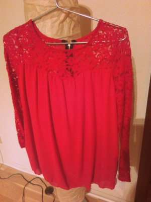 Rote Spitzenbluse Gr.S/M