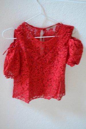 Rote Spitzenbluse Zara Gr. XS