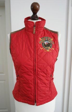 Rote Steppweste von Ralph Lauren mit Lederbesatz Gr. M